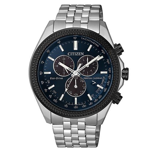 CITIZEN星辰 三眼計時萬年曆光動能腕錶BL5568-54L