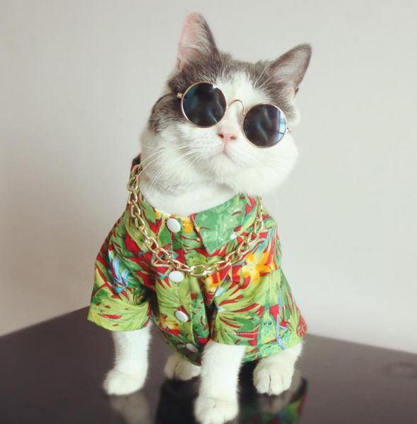 定制可定制尺寸 熱帶風情沙灘寵物花襯衫貓咪衣服狗狗花襯衫夏天薄款 全館八八折鉅惠促銷