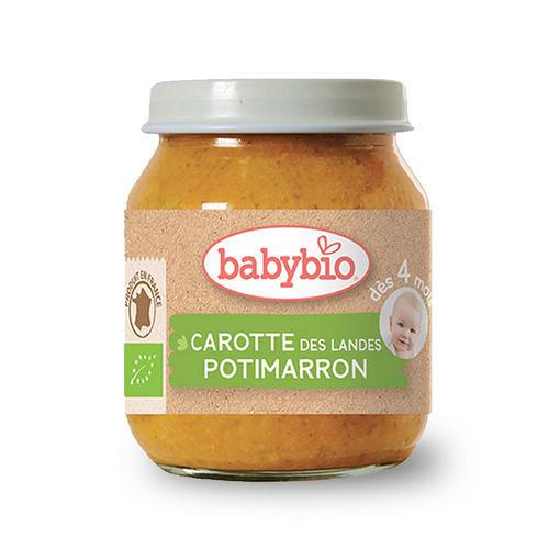 BABYBIO 有機南瓜紅蘿蔔蔬菜泥/果泥130ml-法國原裝進口4個月以上嬰幼兒專屬副食品