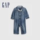 Gap嬰兒 柔軟牛仔長袖包屁衣 670674-中度水洗