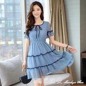 春裝新款修身高腰中長款洋裝女雪紡荷葉邊藍色大碼短袖裙 瑪麗蓮安