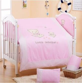 卡通小熊嬰兒寢具 床組八件組