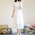 白色顯瘦蕾絲中長款洋裝 【Korea時尚記】