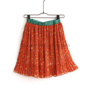 N-329-016秋冬新款新品撞色小碎花高腰松緊雪紡百褶裙半身裙