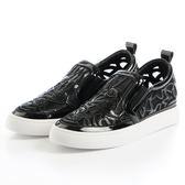 DeSire 音符水晶網布厚底鞋-黑