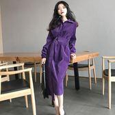 洋裝 秋季韓版風復古修身顯瘦純色襯衣領燈芯絨中長款連身裙潮 迪澳安娜