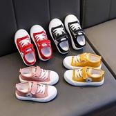 兒童帆布鞋春季新款女童透氣板鞋男童百搭小白鞋魔術貼休閒鞋 快速出貨