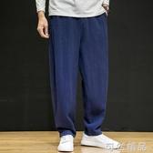 棉麻褲中國風亞麻休閒長褲男純色垂感棉麻闊腿褲大碼寬鬆直筒褲男裝 雙十一全館免運