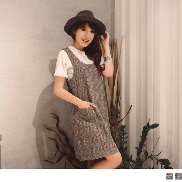 《DA6197-》依依佩佩推薦款.磨毛格紋口袋吊帶裙 OB嚴選