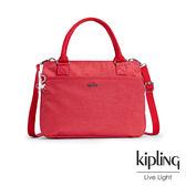 Kipling 紋路質感蘋果紅手提側背包-大