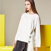 【SHOWCASE】率性銀飾釦開叉下襬寬版針織上衣(米色)