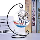 壁掛簡約迷你桌面小魚缸 透明玻璃圓形創意家居辦公桌客廳斗魚缸 萬聖節服飾九折