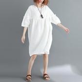 大尺碼 洋裝大碼女裝夏裝洋氣遮肚子顯瘦藏肉高腰娃娃裙寬鬆減齡中長款連衣裙 快速出貨