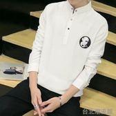 2018春夏季新款polo衫男長袖青年休閒韓版修身男T恤立領套頭襯衫
