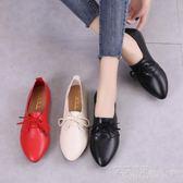 舒適單鞋女休閒平底平跟尖頭系帶小皮鞋網紅女鞋 艾莎嚴選