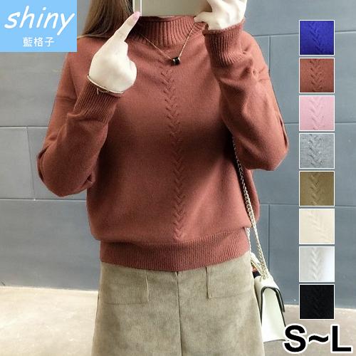 【V1982】shiny藍格子-甜俏入冬‧純色修身顯瘦長袖毛衣上衣