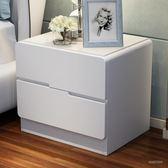 玻璃面烤漆床頭櫃 簡約現代儲物櫃 臥室床邊櫃白色收納igo「時尚彩虹屋」