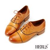 牛津鞋-HERLS 全真皮英倫雅痞綁帶牛津鞋-棕色