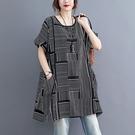 棉綢顯瘦線條設計雙口袋長版上衣-大尺碼 獨具衣格 J3689