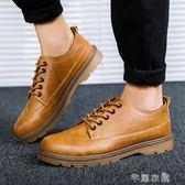 新款秋季單鞋防水工裝鞋潮流英倫男鞋馬丁鞋男透氣休閒皮鞋大頭鞋 芊惠衣屋