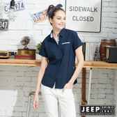 【JEEP】女裝經典高雅格紋襯衫-藍色