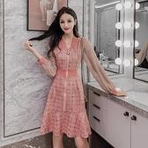 小香風洋裝 春夏麂皮絨連衣裙修身魚尾裙子小個子輕熟女小眾氣質裙 - 古梵希