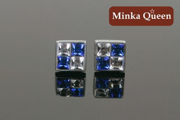 德國鈦鋼四宮格造型深藍白雙色鋯石抗敏耳環(一對)(7 mm)
