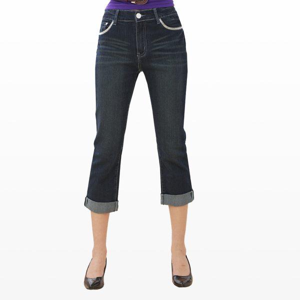 七分褲--純白時尚特殊白扣繡線亮片小點點七分反折牛仔褲(S-7L)-N14眼圈熊中大尺碼