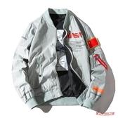 棒球服 飛行員夾克男女情侶春秋季薄款宇航員外套寬鬆加棉棒球服T 2色