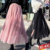 素色紗長裙(3色)XL~4XL【631073W】【現+預】☆流行前線☆