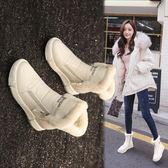 雪地靴女鞋新款潮冬季百搭加絨皮面防水短靴 萬客居