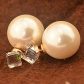 玫瑰金 珍珠 純銀耳環(耳針式)-精美水晶時尚生日情人節禮物女飾品71at71【巴黎精品】