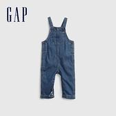 Gap嬰兒 純棉系扣牛仔吊帶褲 670670-中度水洗