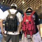 男士新款背包大容量旅行包時尚潮流豎款後肩包  2019潮牌背包男休閑簡約街頭嘻哈雙肩背包