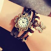 石英編織時裝復古表皮手鏈表學生韓國個性時尚潮流手表wl3914『黑色妹妹』