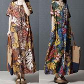 棉麻 葉子印花長洋裝-中大尺碼 獨具衣格