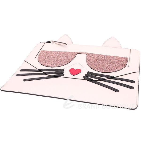 KARL LAGERFELD Choupette 貓咪造型萬用扁包(粉色) 1710817-05