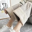 寬管褲 秋冬季加厚毛呢闊腿褲女高腰垂感寬鬆百搭直筒褲顯瘦休閒九分褲子 晶彩 99免運