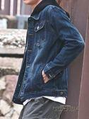 秋季黑色牛仔外套男韓版破洞學生帥氣衣服潮流寬鬆bf風夾克外穿褂