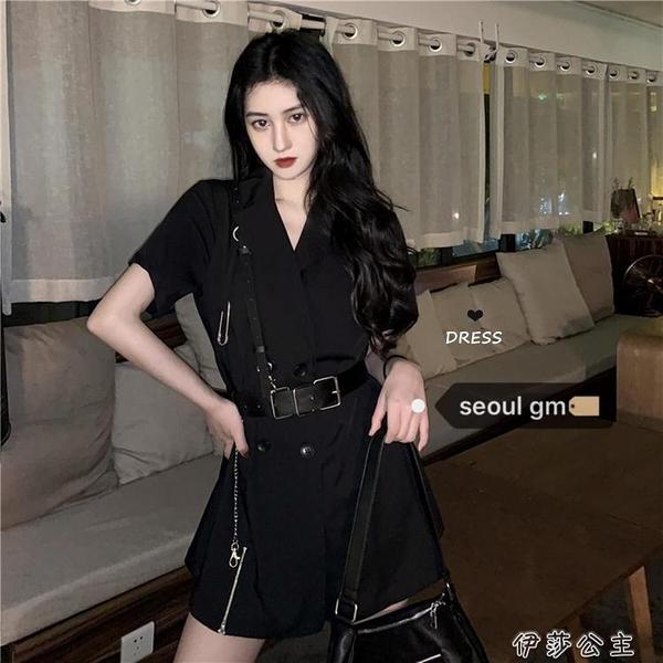 工裝裙SEOUL韓風chic暗黑繫復古風工裝裙子韓版收腰顯瘦西裝洋裝【快速出貨】