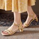 珍珠粗跟涼鞋女夏季ins仙女2021新款露趾細帶一字扣帶羅馬鞋 全館免運