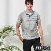 【JEEP】繽紛仲夏休閒短袖POLO衫-灰