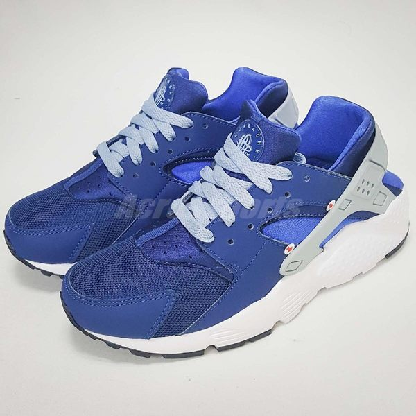 【NG出清】Nike 武士鞋 Huarache Run GS 白 藍 運動鞋 女鞋 大童鞋 左腳膠條有色差 鞋後跟髒汙【PUMP306】