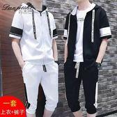 夏季短袖t恤男套裝潮流韓版修身青少年男裝兩件套半袖運動服潮款