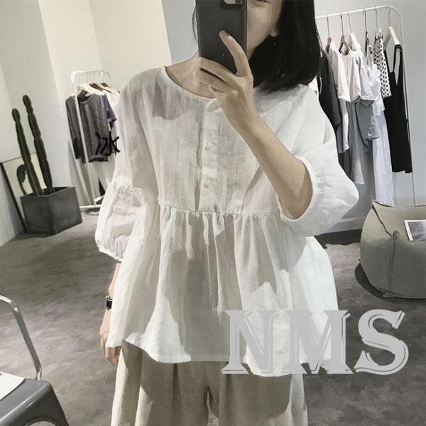 棉麻娃娃衫女夏季寬鬆大碼五分袖設計感小眾亞麻燈籠袖襯衫 喵小姐