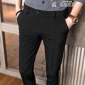 2018夏季休閒西褲男薄款九分褲修身小腳褲青年商務褲子男韓版潮流