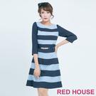 RED HOUSE-蕾赫斯-條紋蕾絲七分...
