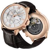 TISSOT 天梭 杜魯爾系列機械計時手錶-玫瑰金框x咖啡/44mm T0994273603800