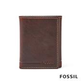 FOSSIL ALLEN 真皮證件格RFID男夾-咖啡色(無鐵盒) SML1550231