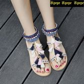 波西米亞民族風流蘇繡花刺繡涼鞋